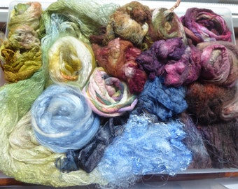 Luxury hand dyed silk selection a great mix of colour and textures - LMSP20