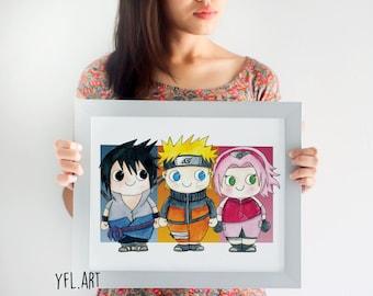 Naruto Uzamaki Art - Sasuke Uchiha Art - Sakura Haruno Art- Shippuden - Anime - Naruto Poster- 11x14 inch