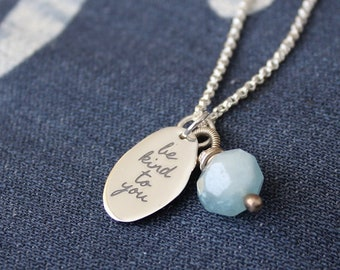 organic sterling silver pebble charm aquamarine nugget affirmation necklace