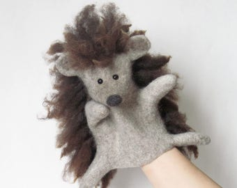 The Gray Hedgehog hand puppet, MADE TO ORDER
