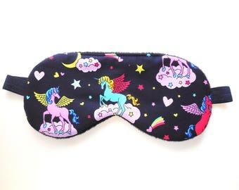 Cute Sleep Mask, Unicorn Eye Mask for Women or Girls, Blindfold Soft Dark Light-blocking, Night Eye Shade Eyemask Sleepmask Travel Accessory