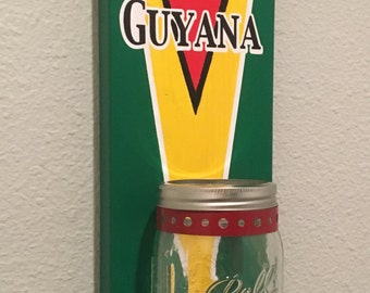 GUYANA FLAG  Bottle Opener with Mason Jar Rustic GUYANA