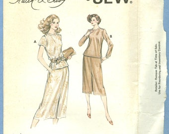 1970s Misses' Blouse and Skirt by Designer Kerstin Martensson Uncut Factory Fold Size 6,8,10,12 - Kwik Sew Sewing Pattern 946