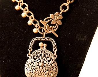 Bronze Purse Locket Necklace