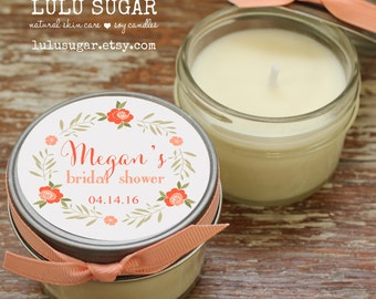 12 - 4 oz Soy Candle Bridal Shower Favors - Floral Wreath Label - Floral Bridal Shower Favors - Rustic Bridal Shower Favor - Mason Jar Favor