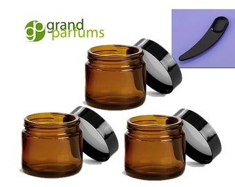 12  2 Oz Amber Glass Jars, Quality Empty Cosmetic Containers & Spatulas/Spoons 60mL with Black Lids Sugar Scrub, Salt