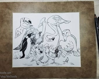 """Original Art // Shapes: Chirp // Pen and Ink 8x10"""" Drawing matted to 11x14"""" // frame ready"""