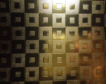 A4 cardstock holographic embossed shiny - various designs - multicolored - gold square pattern inlay