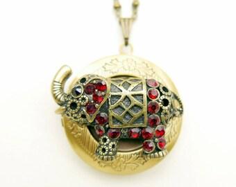 Elephant Necklace, elephant locket, brass chain