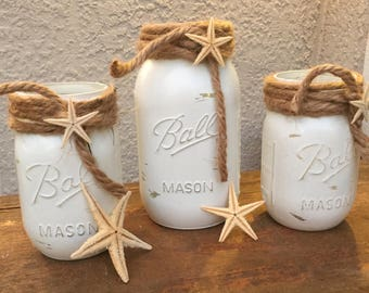 Shabby chic beach decor Beach bathroom decor White mason jars Painted mason jars Starfish Beach chic decor Beach bridal shower