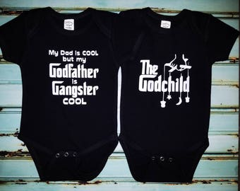 Custom God Father God Child Onesie Set