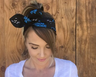 Carolina Panthers Dolly Bow Reversible Black White Blue Pinup Rockabilly Dolly Bow Tie Up Headband Headscarf Hair Girl Head Wrap