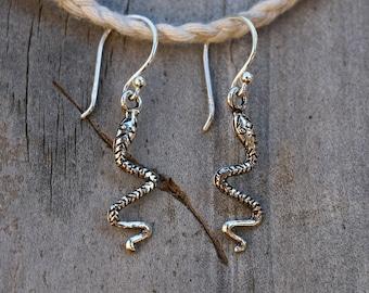 Snake Earrings, Snake Jewelry, Snake Flute, Drop Earrings, Silver Dangle Earrings, Sterling Silver Earrings, Silver Jewelry, JE0030