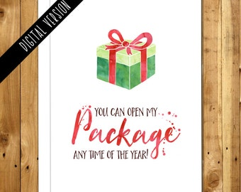 Christmas Printable - DIY Card - Digital Download Funny Christmas Card - Boyfriend Christmas Card - Naughty Christmas Card - Open My Package