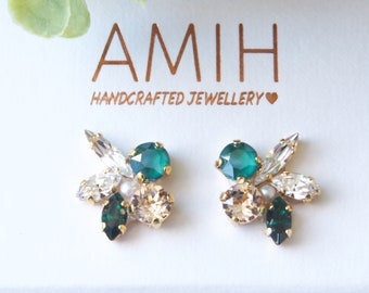 Enerald Swarovski crystal cluster earrings flower bridal jewelry wedding jewelry bridesmaid earrings gift for her party jewelry wedding