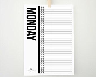 Weekly Planner, Hourly Planner, Printable Planner, Planner with Hours, Half Hour Planner, To Do List, Printable To Do List, Daily To Do List