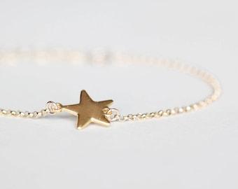 Star Bracelet - gold wish star bracelet, 14k gold filled friendship bracelet, mother and daughter