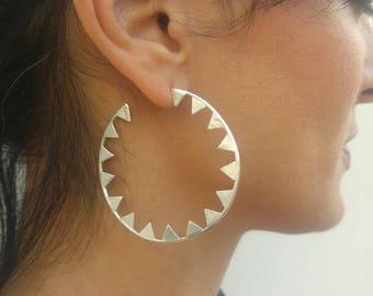 Silver Spike Hoop Earrings,Large Silver Hoop Earrings,Statement Hoop Earrings,Silver Hoops Earrings Large,Trendy Hoop Earrings,Edgy Earrings