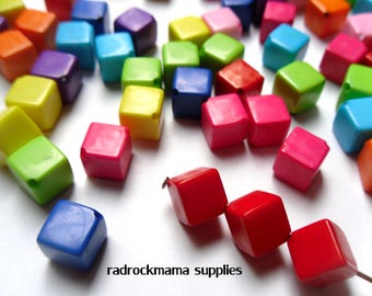 Mixed Color Opaque Diagonally Drilled Acrylic Cube Square Beads 8x8mm     -C4A