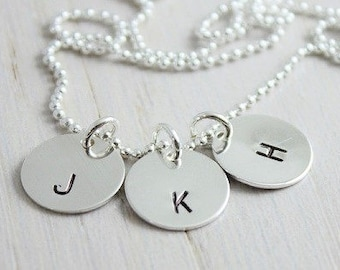 Disc Initial Necklace, Dainty Disc Necklace, Silver Initial Necklace, Monogram Disc Charm, Bridesmaid Gift, Birthday Gift, Sterling Silver