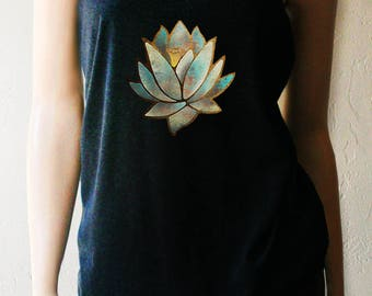 Blue Lotus Yoga Tank. Yoga Shirt. Workout Tank. Workout Womens. Yoga Top. Yoga Clothing. Lotus Shirt. Yoga. Exercise Clothing. Fitness Tank.