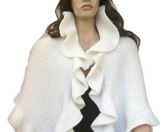 White Wool Three Sides Ruffle Shawl, Snow White Knit Wrap, Bridal Wrap, Handknit, Express Delivery