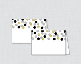 Printable Black and Gold Bridal Shower Food Tent Cards - Black, Silver, and Gold Glitter Bridal Shower Food Labels OR Place Cards - 0001-R