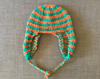 Orange and Turquoise Striped Knitted Ear Flap Hat