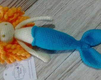 Mermaid Doll * Crochet Mermaid * Yellow Hair Mermaid * Blue Tail Mermaid * Birthday * children