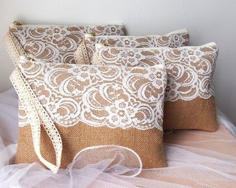 7 bridesmaid clutch /Bridesmaid Gift /burlap clutch /burlap bag purse /lace clutch/wedding idea /wristlet /set of 7 /Ready to ship