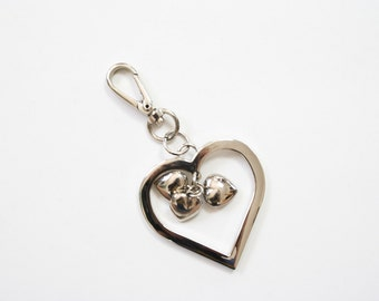 90s Keychain Clip / 1990s Jewelry Accessories / Big Heart with Little Heart Dangles / Silver Tone Puffy Hearts Love Key Chain