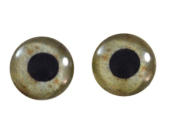 Eagle Glass Eyes - Pick Your Size - for Jewelry Making, Art Dolls Bird Taxidermy Sculptures - Eyeball Flatback Domed Circle Cabochons