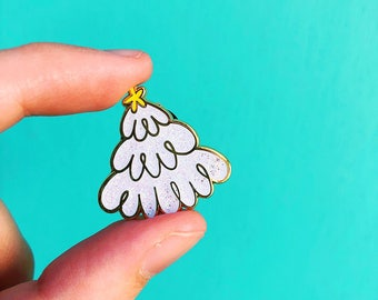 christmas tree enamel pin gift for her gold metal brooch white glitter snow yellow star stocking stuffer under 10 sparkle accessory for mom