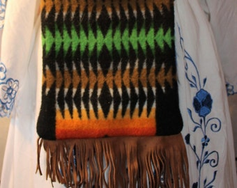 Swen with genuine Pendleton wool/ Purse bag with sweade fringe trim/ detachable leather shoulder strap/ zippers up