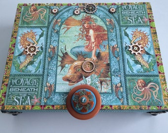 Voyage Beneath The Sea Steampunk  Memory Box Jewelery Box Keepsake Box Decorative Box Altered Cigar Box