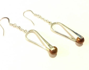 Pearl and Silver Dangle Earrings in Soft Beige Brown / Neutral / Office Wear / Work Fashion / Sophisticated Style