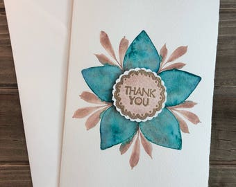 Thank You Card   Turquoise Flower Thank You Card   customizable card