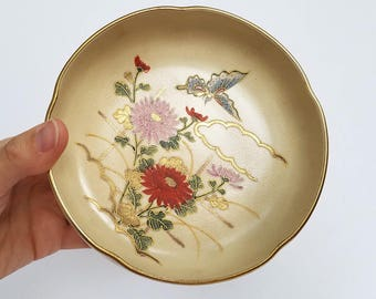 Vintage Japanese Ring Dish or Candy Bowl / Floral Decorative Trinket Dish Home Table Decor Centerpiece