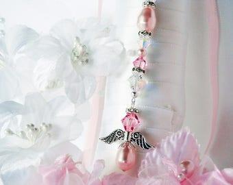 Pink Wedding Bouquet Charm Swarovski Crystal and Pearl Angel Bouquet Charm