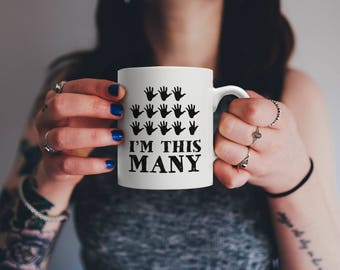 Funny Sixty Three Years Old Gift, I'm This Many Fingers | Vintage 63rd Birthday Anniversary Bday Mug | For Family Who Loves Sarcasm & Irony