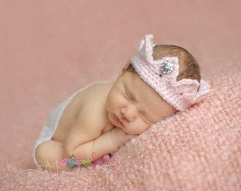 Newborn Princess Crown - Baby Girl Gift Crown Tiara – Baby Headband – Newborn Crown Photo Prop – Crochet Newborn Tiara – Crochet Baby Crown