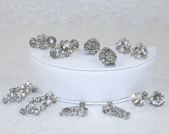 LOT 6 Pr Vintage Rhinestone Earrings Costume Jewelry Collection Dangle Clip Screw Back Wedding Formal Cocktail Ballroom Pageant Prom Mob MoG
