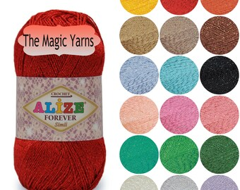 ALIZE FOREVER SIMLI, Microfiber Acrylic yarn with Metallic thread,lurex, lame, lace weight, super fine,ultra , 2 ply, sparkle, shimmer