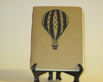 "Handmade Notebook with Vintage Hot Air Balloon Illustration 3 - 4.25"" x 5.5"""