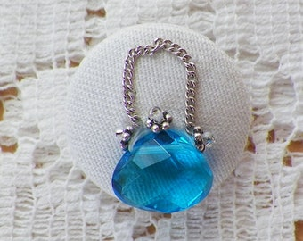 Handmade Aqua Blue Faceted Glass Purse Studio Button / Embellishment / Embroidery, Glass Beads, Signed Button, Silver Chain, Novelty Button