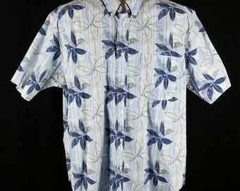 Vintage Hawaiian print blue shirt aloha shirt tiki all cotton wrinkle free size L large chest 52