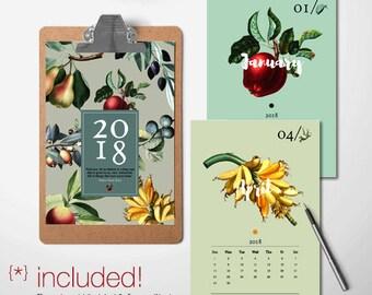 Botanical Calendar, 2018 Printable Calendar, Monthly Calendar, 2017 DIY Calendar, Wall Calendar, 12 month, 2018 Desk Calendar