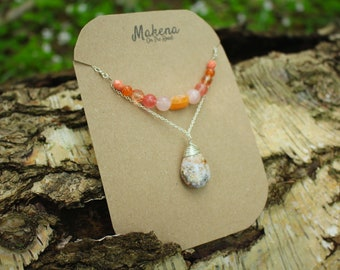 Sunlight Over Me - Jasper Pendant Pink and Coral shades Necklace
