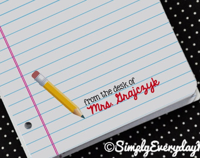 Personalized Pencil Teacher Notes Cards - for Teacher Gifts or Back to School   Editable Instant download DIY Printable PDF