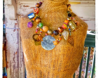 Vintage Tribal Statement Necklace. Boho